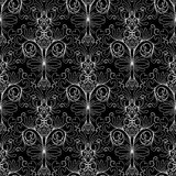 Teste padrão sem emenda do damasco floral Backg floral do branco do preto do vintage Foto de Stock Royalty Free