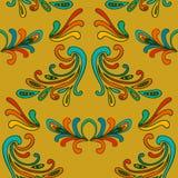 Teste padrão sem emenda do damasco floral colorido com ondas Fotos de Stock