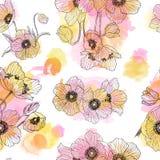 Teste padrão sem emenda do desenho linear da flor da anêmona com pontos da aquarela Ilustração do verão Estilo gravado erval Imagens de Stock