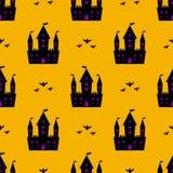 Teste padrão sem emenda do Dia das Bruxas do castelo Imagens de Stock