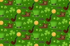 Teste padrão sem emenda do dia de St Patrick s Textura infinita do fundo Ilustração do vetor Fotos de Stock