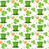 Teste padrão sem emenda do dia de St Patrick Textura infinita do fundo Ilustração do vetor Fotos de Stock Royalty Free