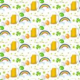 Teste padrão sem emenda do dia de St Patrick Textura infinita do fundo Ilustração do vetor Imagens de Stock
