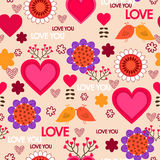 Teste padrão sem emenda do dia de Valentim Fotografia de Stock Royalty Free