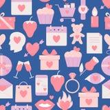 Teste padrão sem emenda do dia de Valentim com ícones no estilo liso ilustração stock