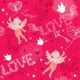 Teste padrão sem emenda do dia de Valentim com cupido, mão d Foto de Stock Royalty Free