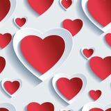 Teste padrão sem emenda do dia de Valentim, corações 3d ilustração do vetor