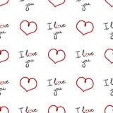 Teste padrão sem emenda do dia do ` s do Valentim Fundo da Web com corações e ` do ` das palavras eu te amo Foto de Stock Royalty Free