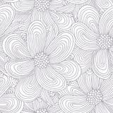 Teste padrão sem emenda do esboço com flores da garatuja Imagens de Stock Royalty Free