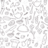 Teste padrão sem emenda do esboço do alimento e da bebida Mão Foto de Stock
