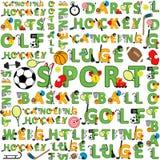 Teste padrão sem emenda do esporte das palavras Imagens de Stock Royalty Free