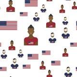 Teste padrão sem emenda do Estados Unidos da América com bandeira e povos Ilustração lisa Eps 10 Fotografia de Stock Royalty Free
