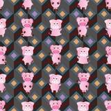 Teste padrão sem emenda do estilo da simetria do porco ilustração stock