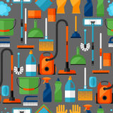Teste padrão sem emenda do estilo de vida das tarefas domésticas com ícones da limpeza Fundo para o contexto Fotografia de Stock Royalty Free