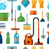 Teste padrão sem emenda do estilo de vida das tarefas domésticas com ícones da limpeza Fundo para o contexto Imagem de Stock