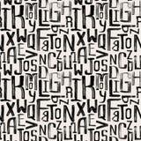 Teste padrão sem emenda do estilo do vintage, letras do grunge de aleatório Imagens de Stock Royalty Free