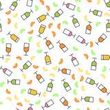 Teste padrão sem emenda do estilo liso de vidros de vinho Conceito para a tela e o papel, texturas de superfície Ilustração do ve fotografia de stock royalty free