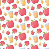 Teste padrão sem emenda do estilo liso do vetor do suco de maçã ilustração stock
