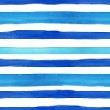 Teste padrão sem emenda do estilo náutico com as listras horizontais azuis da aquarela no fundo branco Textura tirada mão do verã ilustração royalty free
