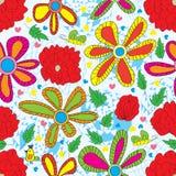 Teste padrão sem emenda do estilo vermelho da flor ilustração do vetor