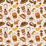 Teste padrão sem emenda do fast food ilustração royalty free