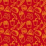 Teste padrão sem emenda do fast food Foto de Stock