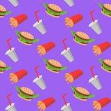 Teste padrão sem emenda do fast food com vegetais dos cheeseburgers, batatas fritas, soda ilustração stock
