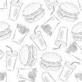 Teste padrão sem emenda do fast food Desenho da mão Fotografia de Stock