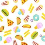 Teste padrão sem emenda do fast food no fundo branco ilustração do vetor