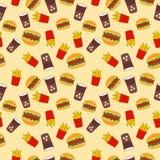 Teste padrão sem emenda do Fastfood Fotos de Stock Royalty Free