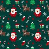 Teste padrão sem emenda do Feliz Natal com Santa Claus, os cervos, os flocos de neve, as estrelas, as árvores de Natal e os doces Foto de Stock Royalty Free