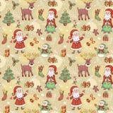 Teste padrão sem emenda do feriado com Santa. Imagens de Stock Royalty Free