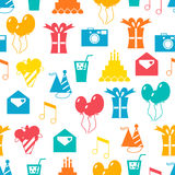 Teste padrão sem emenda do feriado, feliz aniversario, fundo festivo Fotografia de Stock