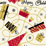 Teste padrão sem emenda do feriado Fundo do inverno para o papel de envolvimento e cartões com os flocos de neve de brilho dourad ilustração stock