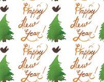 Teste padrão sem emenda do feriado do Natal da aquarela com árvores, pássaros e cópia do ano novo feliz Tema do ano novo do inver ilustração royalty free