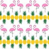 Teste padrão sem emenda do flamingo com os abacaxis no fundo branco Imagens de Stock Royalty Free