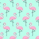 Teste padrão sem emenda do flamingo no fundo do verde da hortelã Imagens de Stock Royalty Free