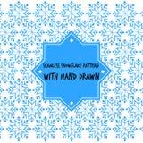 Teste padrão sem emenda do floco de neve com vetor tirado mão Imagens de Stock