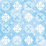Teste padrão sem emenda do floco de neve do vetor Fotos de Stock Royalty Free