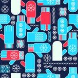 Teste padrão sem emenda do floco de neve dos mitenes do inverno Imagens de Stock Royalty Free