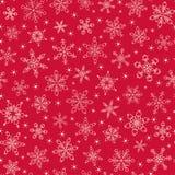 Teste padrão sem emenda do floco de neve Fundo vermelho do vetor do Natal Imagem de Stock Royalty Free