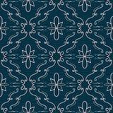 Teste padrão sem emenda do flourish elegante Empalideça - pique linhas curvadas na obscuridade - o fundo azul Fotografia de Stock