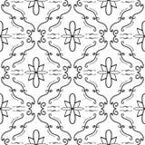 Teste padrão sem emenda do flourish elegante Linhas curvadas preto no fundo branco Fotografia de Stock