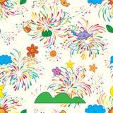 Teste padrão sem emenda do fogo de artifício colorido do crescimento natural ilustração stock