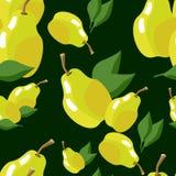 Teste padrão sem emenda do fruto com peras amarelas ilustração do vetor