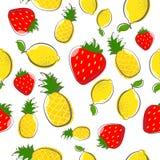 Teste padrão sem emenda do fruto da morango do abacaxi do limão ilustração royalty free