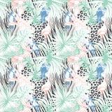 Teste padrão sem emenda do fundo da cor do verão floral tropical com pa Imagens de Stock