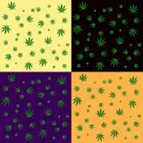 Teste padrão sem emenda do fundo da folha do cannabis Fotografia de Stock