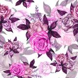 Teste padrão sem emenda do fundo da rosa do vintage do guache da aquarela ilustração royalty free