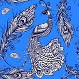 Teste padrão sem emenda do fundo das penas de pássaro do pavão Fotografia de Stock